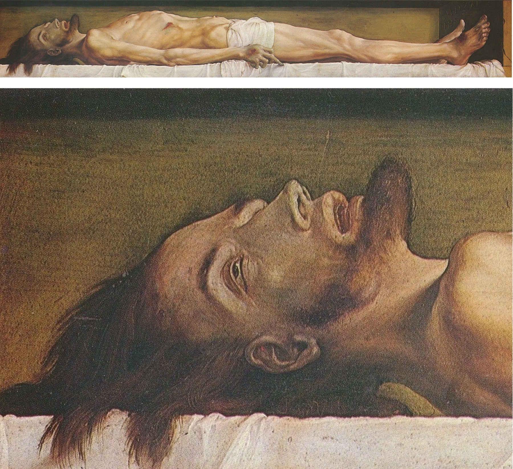 "Holbein's Dead Christ within his closed coffin (top) is an arresting image.  Dostoyevsky had a character in The Idiot say that ""this picture could rob  many a ..."