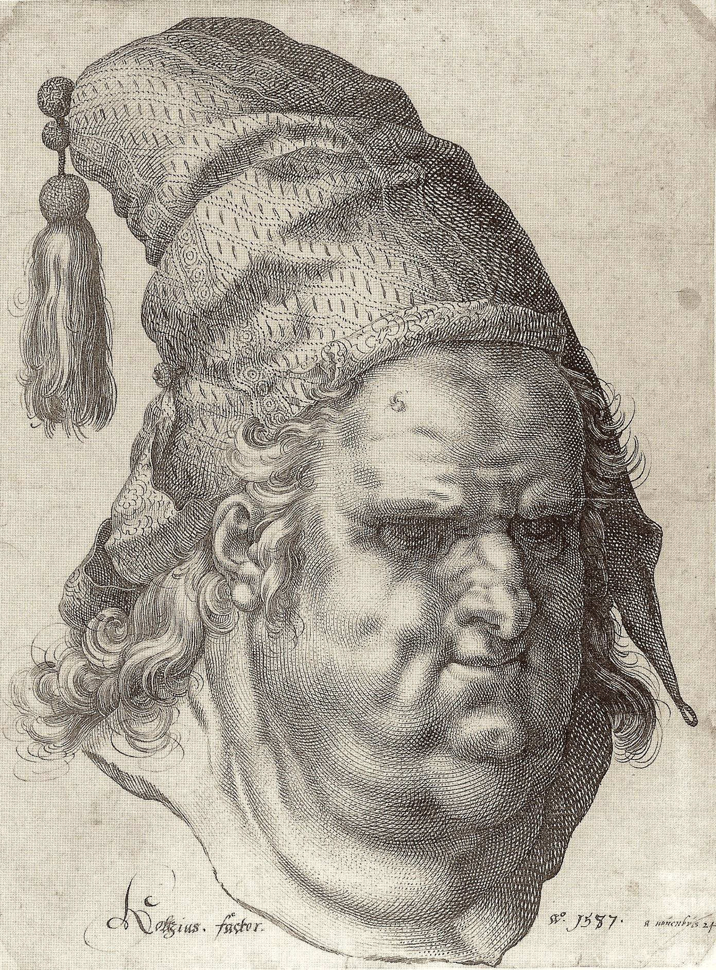 Epph Goltzius Rsquo Man Wearing A Tasseled Cap 1587