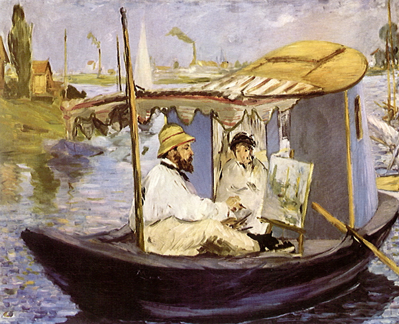 epph manet s monet painting on his studio boat 1874. Black Bedroom Furniture Sets. Home Design Ideas