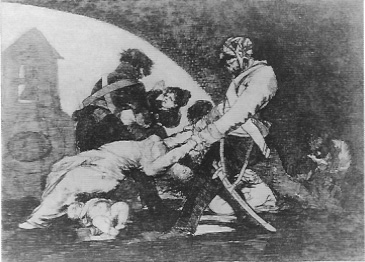 Plate 11 is another scene in which the location of the underlying allegory, in Goya's mind, is fairly obvious. Look at how the oval form of the church front ...