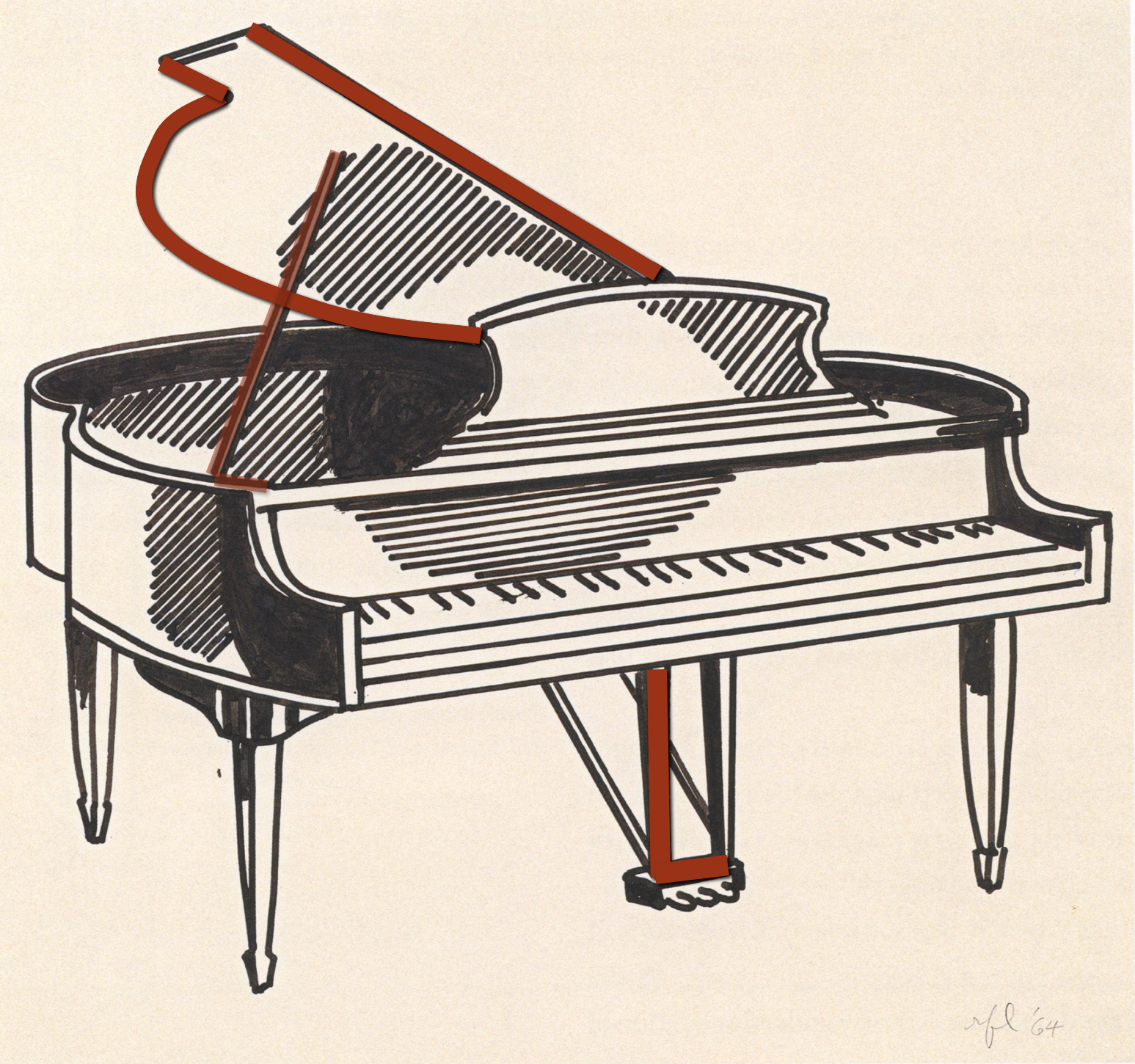Epph lichtensteins piano c1961 as i showed of a contemporaneous drawing alka seltzer the artist has also used the shapes of his motif to form his initials here r for roy suggested in pooptronica