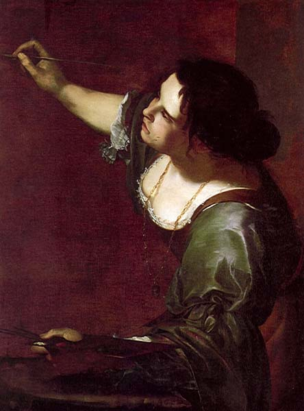 In Artemisia Gentileschi's self-portrait as an Allegory of Painting,