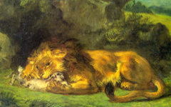 Delacroix's Lion Devouring a Rabbit (1856)