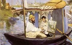 Manet's Monet Painting on His Studio Boat (1874)
