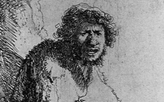Rembrandt's Self-portrait as A Beggar Seated on a Bank (1630)