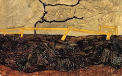 Schiele's Bare Tree Behind a Fence (1912)