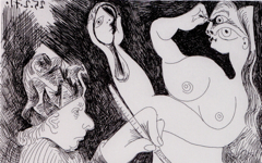 Picasso's Untitled Plate 58 from Suite 156 (1971)